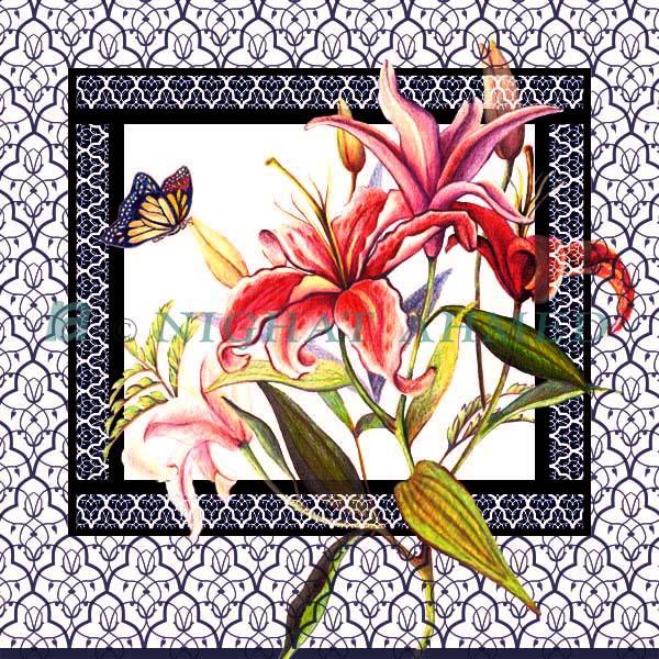 lilies-w-pattern