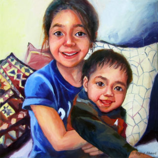 Zainab & Amir my grandkids painted in May 2020. During pandemic when Covid-19 was at its peak.